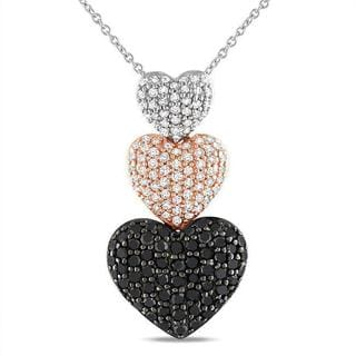 Miadora Two-tone Silver 1ct TDW Black and White Diamond Necklace