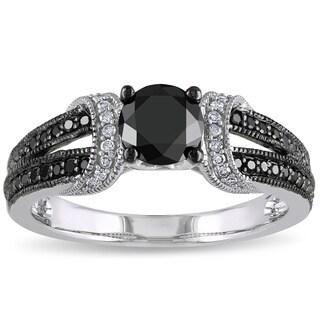 Miadora 1 CT Black and White  Diamond TW Fashion Ring  10k White Gold GH I2;I3 Black Rhodium Plated