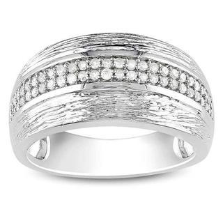 Miadora Sterling Silver 1/4ct TDW White Diamond Ring
