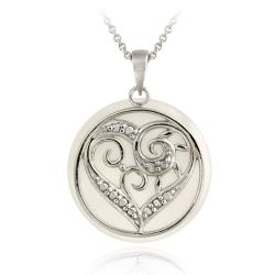 DB Designs Sterling Silver Mother of Pearl and Diamond Accent Heart Necklace