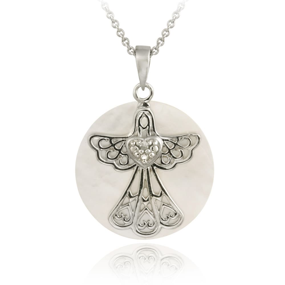 DB Designs Sterling Silver Mother of Pearl and Diamond Accent Angel Necklace