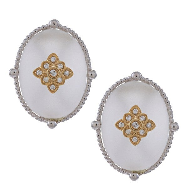 Oro Leoni Gold and Silver Crystal and Diamond Accent Earrings
