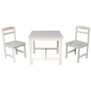 Stupendous Unfinished Parawood Childrens 3 Piece Table And Chair Set Overstock Com Shopping The Best Deals On Kids Table Chair Sets Creativecarmelina Interior Chair Design Creativecarmelinacom