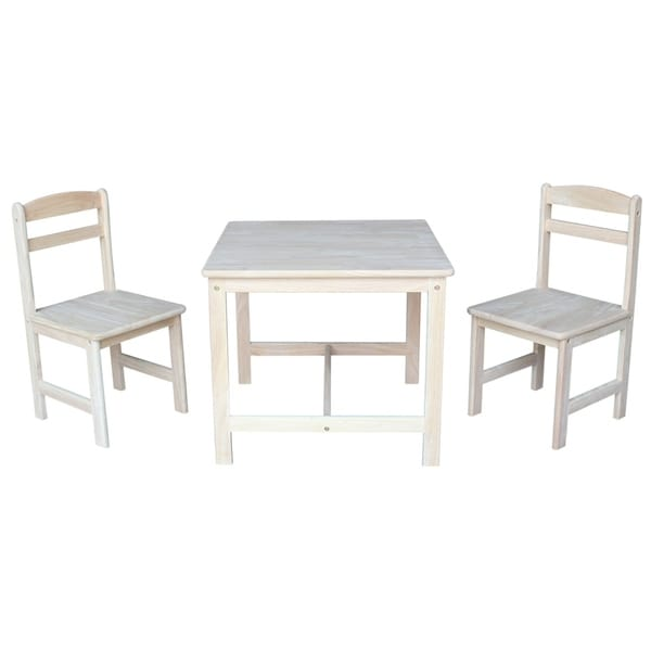 Unfinished Parawood Children's 3-piece Table and Chair Set. Opens flyout.