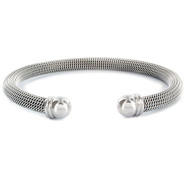Stainless Steel Domed Mesh Cuff Bracelet