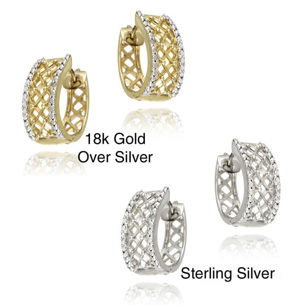DB Designs 18k Gold over Silver Crescent Diamond Accent Hoop Earrings