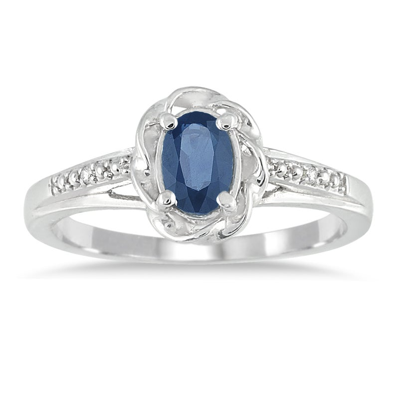Marquee Jewels 10k White Gold Sapphire and Diamond Accent Ring