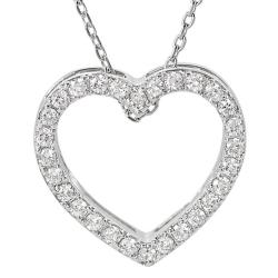 Journee Collection Silvertone Cubic Zirconia Heart Necklace