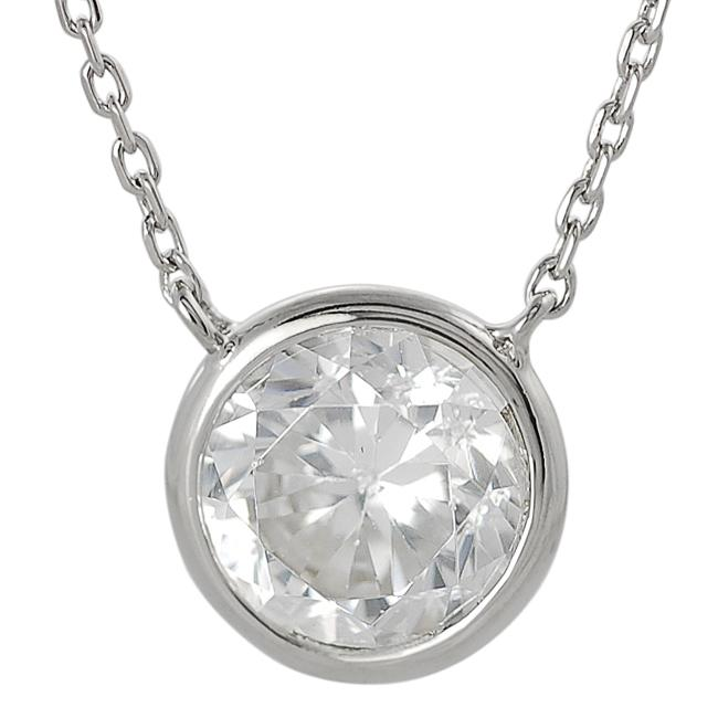 Silvertone Round-cut Cubic Zirconia Necklace - Thumbnail 0