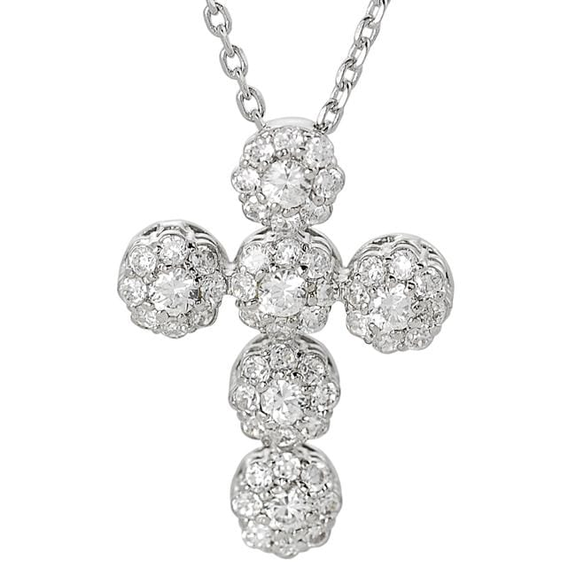 Journee Collection Silvertone Cubic Zirconia Cross Necklace