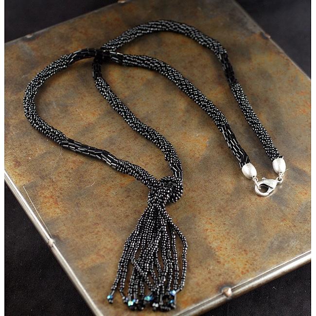 Peyote Bird Designs Black Lariat Necklace (China)