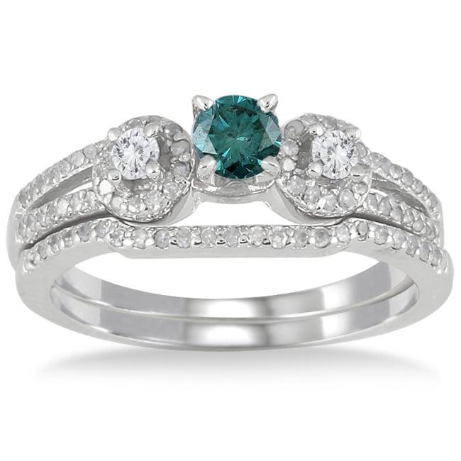 Marquee Jewels 10k White Gold 3/4ct TDW Blue and White Diamond Bridal Ring Set (I-J, I1-I2)