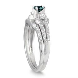 Marquee Jewels 10k White Gold 3/4ct TDW Blue and White Diamond Bridal Ring Set (I-J, I1-I2) - Thumbnail 1