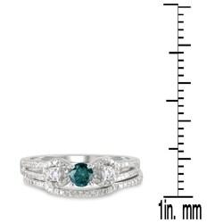 Marquee Jewels 10k White Gold 3/4ct TDW Blue and White Diamond Bridal Ring Set (I-J, I1-I2) - Thumbnail 2
