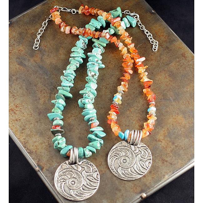 Peyote Bird Designs Carnelian and Howlite Tooled Necklace