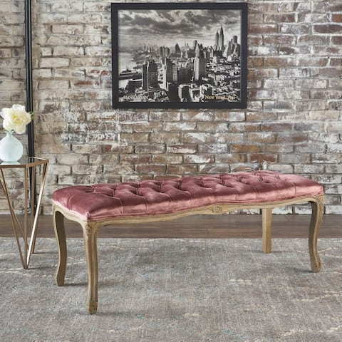 Tassia Traditional Button Tufted Velvet Bench by Christopher Knight Home