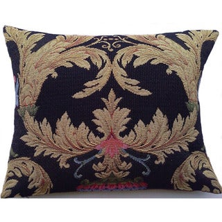 Corona Decor Italian-woven Floral and Leaf Decorative Feather and Down Filled Pillow