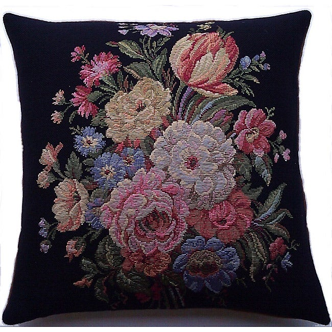 Corona Decor Italian-woven Floral 25in. x 25in. Decorative Pillow