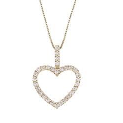 14K Yellow Gold 5/8ct TDW Open Heart Diamond Necklace