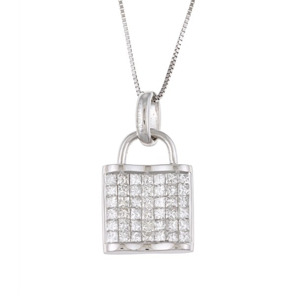18K White Gold 1ct TDW Diamond Pad-Lock Necklace