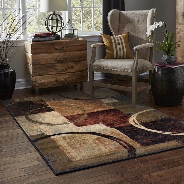 Blocks and Rings Brown/ Black Area Rug (6'7 x 9'6)