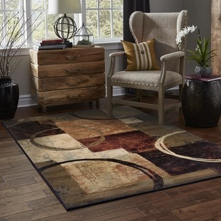 Clay Alder Home Percha Blocks and Rings Brown/ Black Area Rug (6'7 x 9'6)