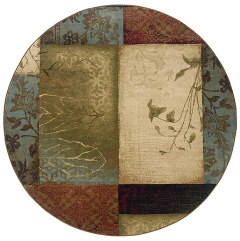 """Copper Grove Custer Beige/ Green Transitional Area Rug - 7'8"""" Round"""