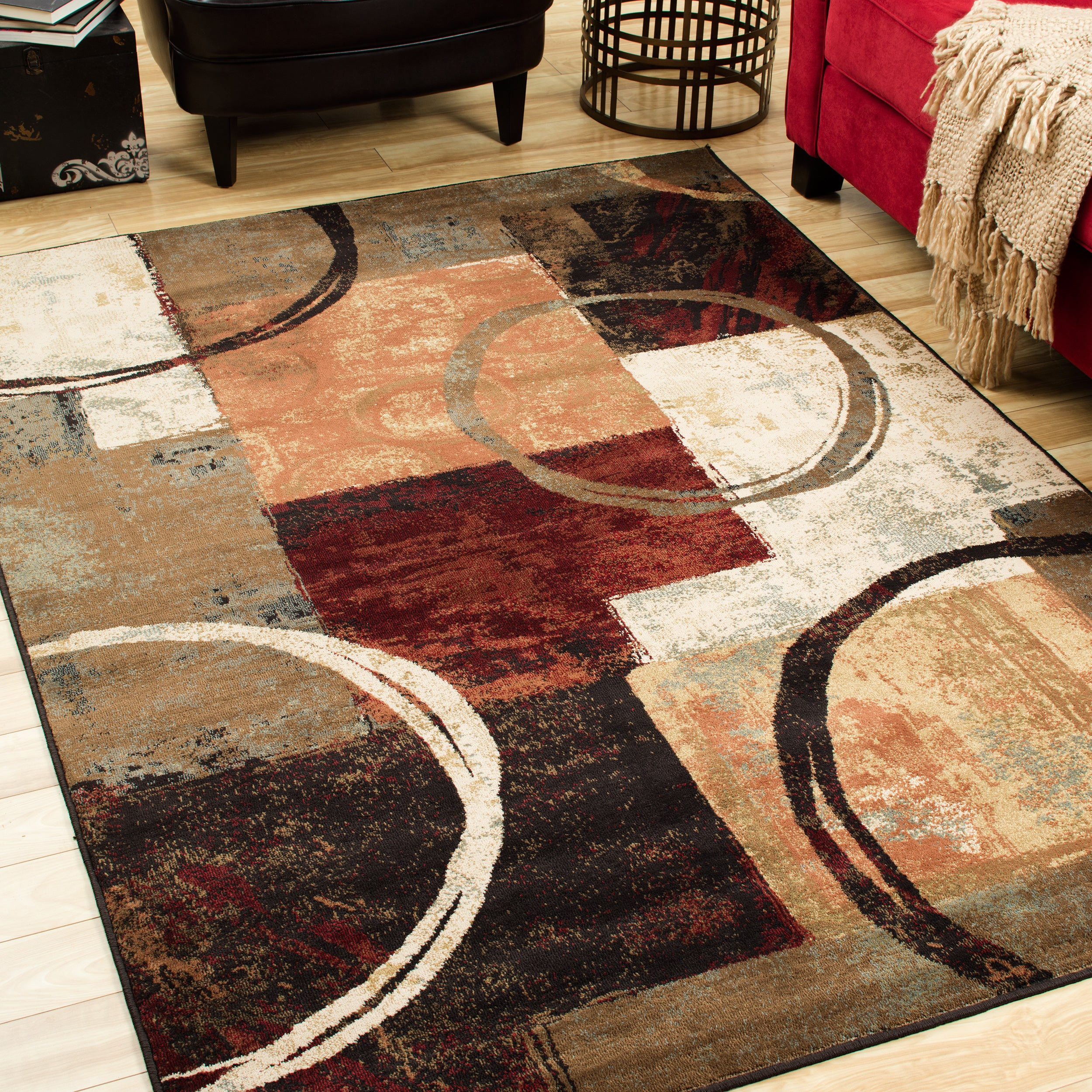 Style Haven Blocks and Rings Brown/ Black Area Rug (7'8 x...