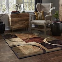 Clay Alder Home Percha Blocks and Rings Brown/ Black Area Rug - 5'3 x 7'6