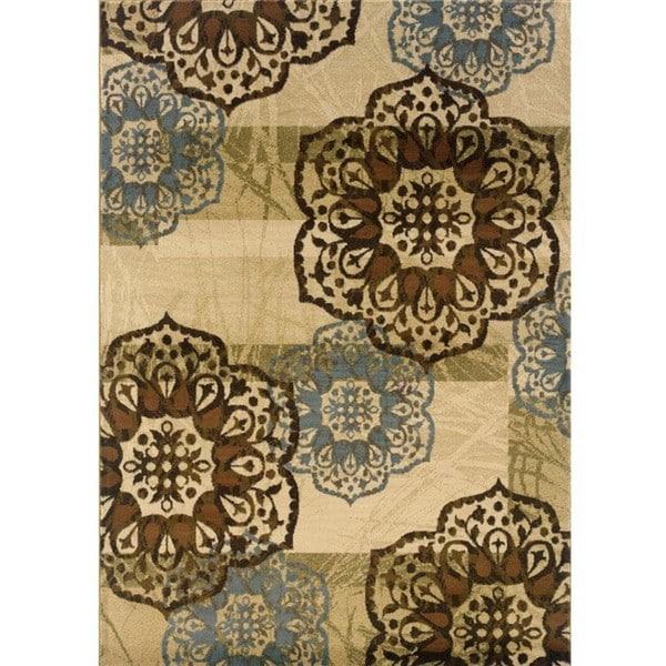 Beige/Blue Area Rug - 5'3 x 7'6