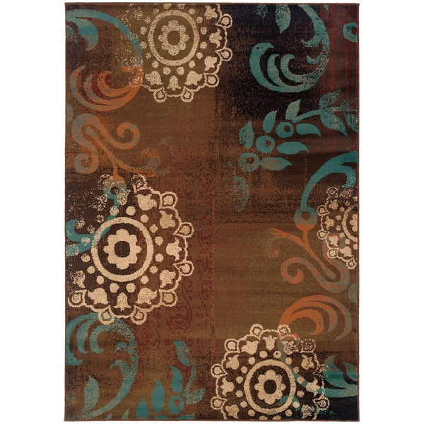 Brown/ Blue Transitional Area Rug - 7'10 x 10'