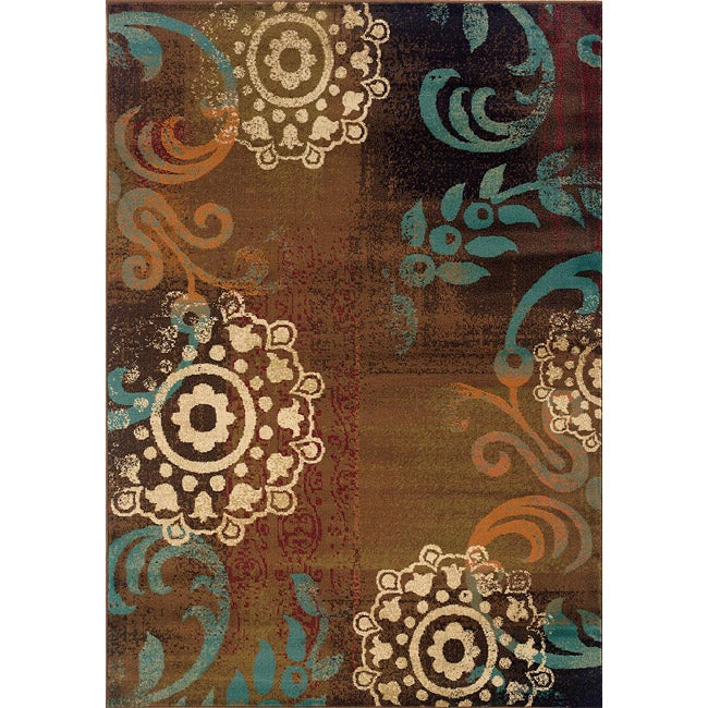"""Brown/ Blue Transitional Area Rug (6'7 x 9'6) - 6'7"""" x 9'6"""""""