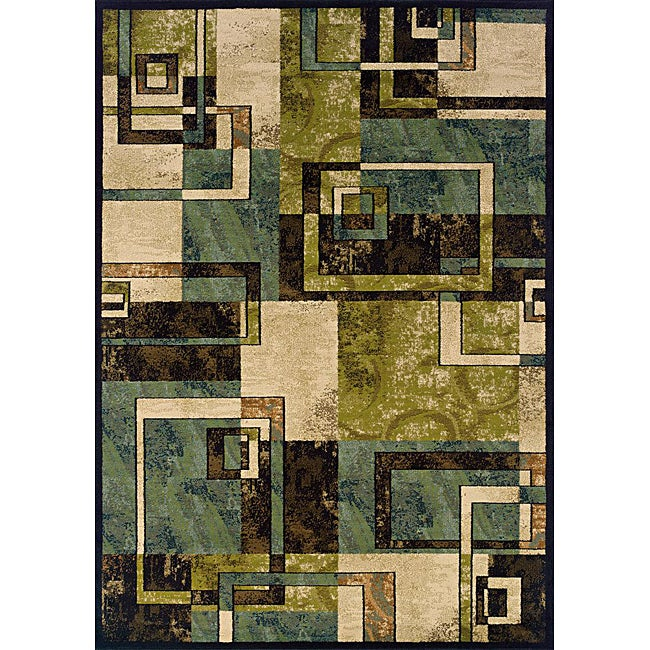 Beige/ Blue Contemporary Area Rug (5' x 7'6) - Thumbnail 0