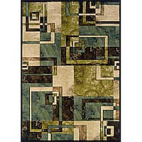 Beige/ Blue Contemporary Area Rug - 5' x 7'6