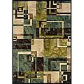 "Beige/ Blue Contemporary Area Rug (5' x 7'6) - 5' x 7'6"""