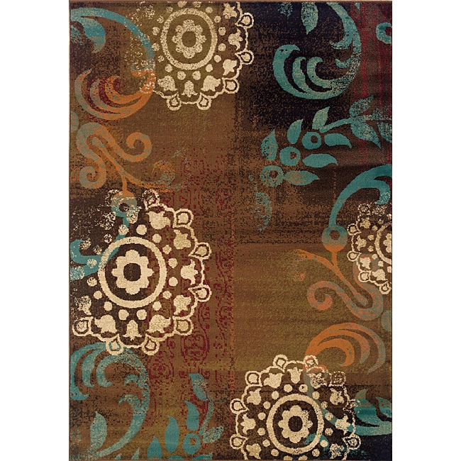 Brown/ Blue Geometric Transitional Area Rug (3'10 x 5'5)