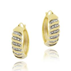 DB Designs 18k Yellow Gold over Sterling Silver Diamond Accent Hoop Earrings