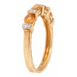 Anika and August 10k Yellow Gold Spessartite and Diamond Accent Ring - Thumbnail 1