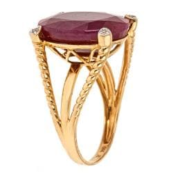 Anika and August 14k Yellow Gold Ruby and Diamond Accent Ring