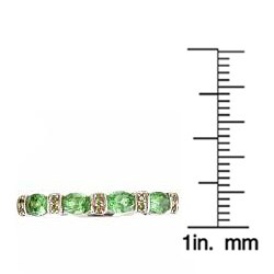 Anika and August 14k White Gold Tsavorite and Green Diamond Accent Ring - Thumbnail 2