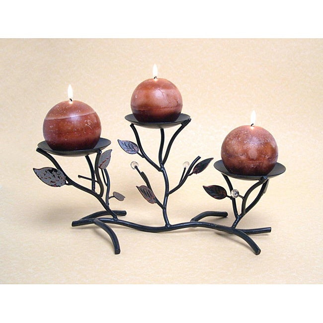 Dayna B. Triple Metal Twigs and Leaves Candleholder