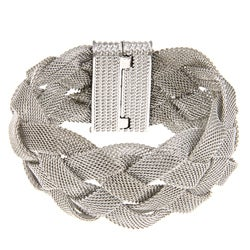 La Preciosa Silvertone Braided Mesh Magnet Lock Bracelet