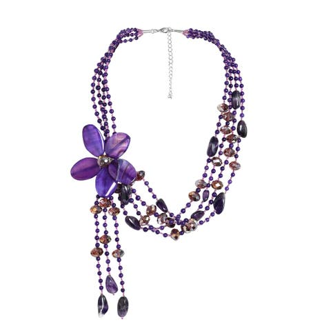 Handmade Sterling Silver Amethyst Floral Necklace (Thailand)