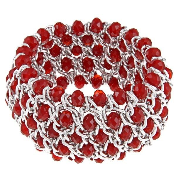 La Preciosa Silvertone Red Faceted Crystal Stretch Bracelet