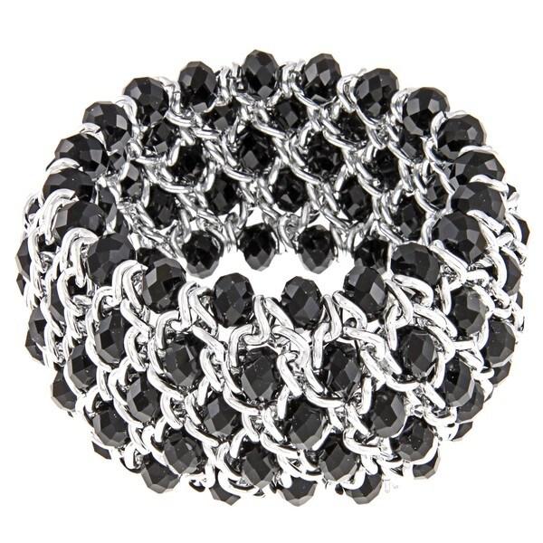 La Preciosa Silvertone Black Faceted Crystal Stretch Bracelet