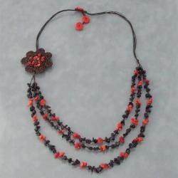 Red Coral and Onyx Crochet Flower Bib Necklace (Thailand)