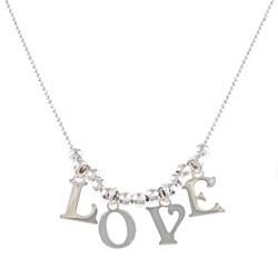La Preciosa Sterling Silver 'Love' Charm Necklace