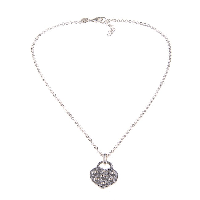 La Preciosa Sterling Silver Flat Heart Necklace