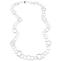 La Preciosa Sterling Silver 40-inch Flat Circle Link Necklace