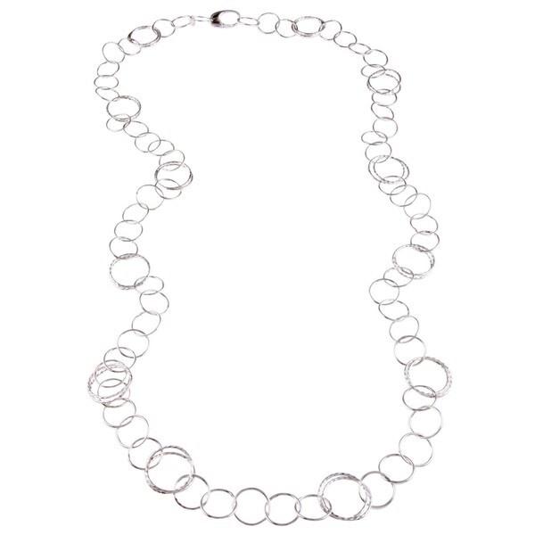 La Preciosa Sterling Silver 40-inch Flat Circle Link Necklace